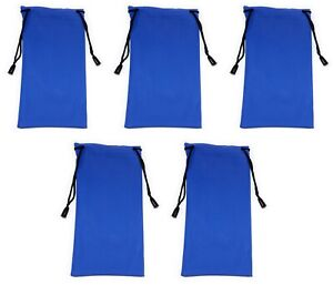 5 x Blue Glasses Sunglasses Pouch Case Drawstring Soft Bag Wallet Phone Reading