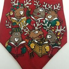 Christmas Tie Men's Jingle Bells Holiday Red Reindeer Necktie 100 % Silk