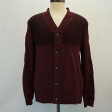 Alfani Mens Sweater Ribbed Button Up Cardigan Front Pockets Port Dark Red L $85