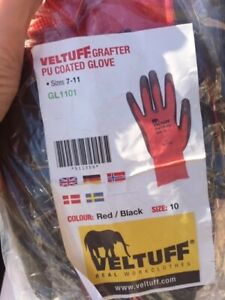 Veltuff Grafter picking, work gloves high dexterity handling or assembly Red