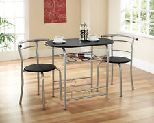 Compact Dining Table and Chairs Black Dining Set Kitchens Flats Students HMO