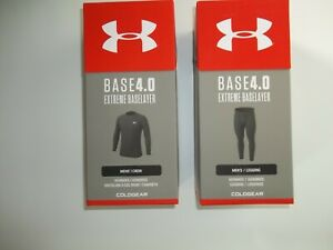 UNDER ARMOUR Black 4.0 BASE LAYER 2 PC Leggings Pants & SHIRT SET Mens SMALL NEW