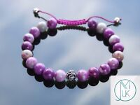 Sugilite Om Sterling Silver Dyed Natural Gemstone Bracelet 6-9'' Macrame Healing