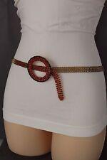 Women Dark Gold Metal Chains Fashion Belt Hip Waist Red Beads Round Buckle S M