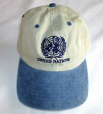 UNITED NATIONS HAT Adjustable Strap Cotton Sand/Tan & Blue >NEW<