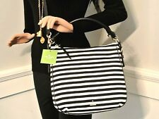 NWT Kate Spade Cobble Hill Stripe Small Ella bag with Black leather trim SALE