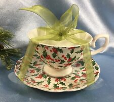 NEW Bella Lux Gracie Bone China Footed Cup + Saucer: Merry Christmas Holly. #841