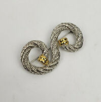 Twisted rope brooch S-curve silver and gold-tone vintage1980s style