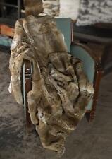 100% Genuine Real Rabbit Fur Throw Soft Warm Bedspread Blanket King Straw yellow