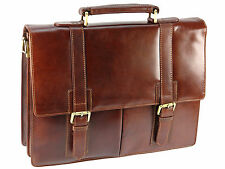 Visconti X Large Vintage Collection Leather Briefcase Shoulder Bag - Tan VT6