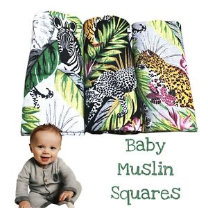 ✅3 Pack Large Printed Muslin Squares 80x70cm Baby Cloth Reusable Nappy Bibs Wipe