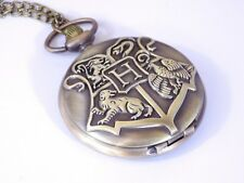 Vintage Bronze Harry Potter Quartz Pocket Watch Necklace Gryffindor Slytherin