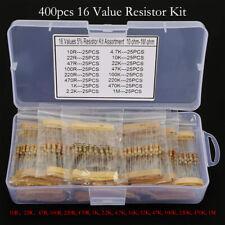 400pcs 16 Values 5% 10 - 1M Ohm 1/2 Watt Metal Film Resistors Assortment Kit Set