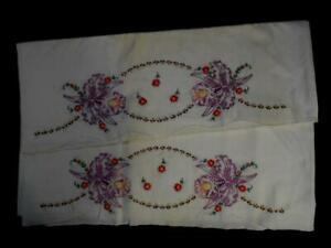 PAIR VINTAGE WHT COT PILLOW CASES HAND EMBROIDERED W/PURPLE ORCHIDS