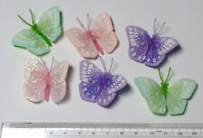 6x Feather Butterflies for Crafts. 4cm wingspan. Colour selection as photo