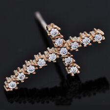 Fashion womens Punk 14k Yellow gold filled ear cuff wrap Cross Crystal Earrings