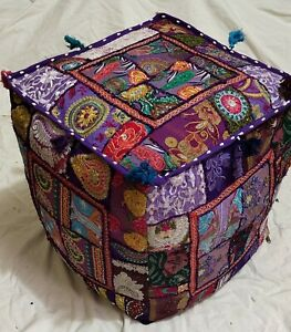 """Indian Cotton Handmade Poufs Cover Ottoman Patchwork Footstool 16X16X16"""" Inches"""