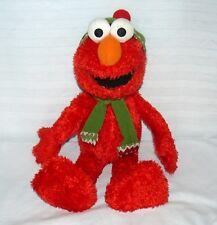 "GUND ELMO 22"" Sesame Street Winter Scarf Green Hat Big Doll Used"