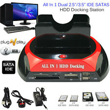 "2.5"" 3.5"" HDD Docking Station Ide Sata Disco Duro Doble USB Lector de Tarjetas DOCK HUB"