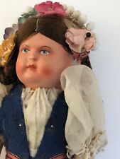 Antique 1920-1930 Made In Hungary Cloth Doll 10� Girl Traditional Ethnic Outfit