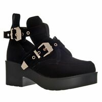 LADIES WOMENS CUT OUT CHUNKY TRENDY DOUBLE  BUCKLE BLOCK HEEL ANKLE BIKER BOOTS