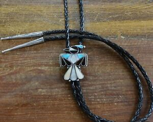 Vintage Sterling Silver Turquoise and Shell Inlay Thunderbird Bolo Tie