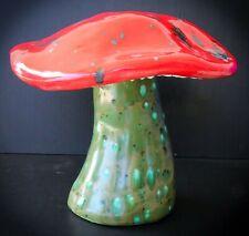 Vintage Ceramic Sculpture MAGIC MUSHROOM Glazed Mid-Century Modern Psychedelic