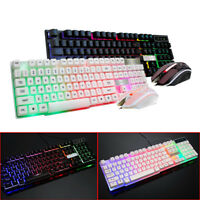 RGB LED Gaming Keyboard LED Backlit USB Wired Rainbow Gaming Keyboard+Mouse