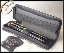 Büffel Leder Etui für 2 Schreibgeräte / Stifte SCHWARZ Reißverschluss Pen Pouch