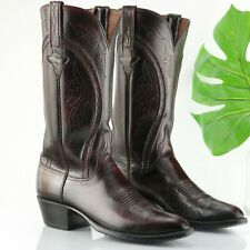 Lucchese 10 A Western Boot Burgundy Pointed Burgundy Cherry Leather Classic