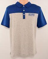 MICHAEL KORS Men's Colourblocked Polo Shirt, Heather Grey/Blue, sizes M L
