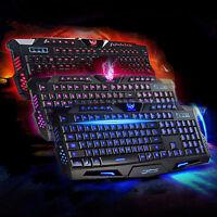 3 Colors Illuminated LED Backlight USB Wired Multimedia PC Gaming Keyboard