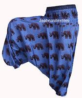 PANTS YOGA MEN WOMEN BLUE INDIAN BAGGY GYPSY HAREM ELEPHANT PRINT COTTON TROUSER