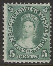 NEW BRUNSWICK 8a 1860 5c BLUE GREEN QUEEN VICTORIA DISTURBED NEVER HINGED GUM