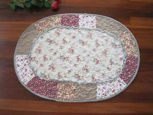 Country Rose Green Patch Ruffles Cotton Quilted Oval Mat Rug Floor Runner