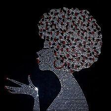 "HOTFIX RHINESTONE HEAT TRANSFER IRON ON ""Bling Afro Girl perm"""