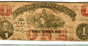 "$1 1862 ""VIRGINIA TREASURY NOTE""  ""ACTUAL AUTOGRAPH'S"" (RED OVERPRINT)NICE NOTE!"