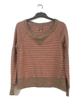 Joules Womens Stripy Brown/Pink Cotton Long Sleeve Blouse 14(D353)