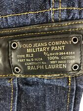 Polo Jeans Freighter Military Cargo Jean Leather Pant Ralph Lauren 33x34 RARE
