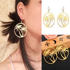 Harajuku Women Smooth Hollow Gold Coconut Tree Acrylic Earrings Ear Stud Jewelry