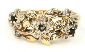 Sapphire & 9ct Yellow Gold Women's Flower & Leaf Ring Fine Jewellery Band Size Q