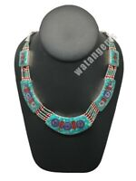 Ethnic Tribal Nepalese Lapis,Green Turquoise & Red Coral Inlay Necklace, E268