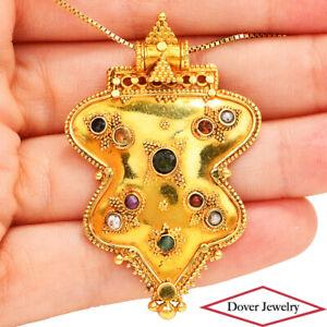 Estate Emerald Sapphire 14K Gold Multi Stone Milgrain Pendant 8.6 Grams NR