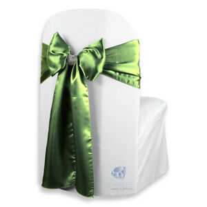 """10 pcs Satin Chair Cover Bow Sash 108""""x8"""" - Sage Green - w/ Bow Covers rt"""