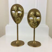 Set of 2 Vtg Solid Brass Comedy or Tragedy? Theater Masks Standing Decoration
