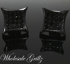 Simulate Black Diamond Custom ice HipHop Earrings New $69 Mens 14K Black Gold Gp