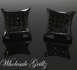 NEW $69 Mens 14K BLACK GOLD GP Simulate Black Diamond CUSTOM ice HipHop Earrings