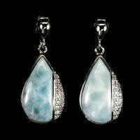 Unheated Pear Blue Larimar 18x8mm Cubic Zirconia 925 Sterling Silver Earrings