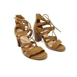 New Look Brown Strappy Block Heel Shoes Heels UK 8 Wide Fit EU 41 Back Zip