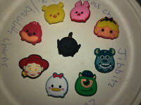 Disney Tsum Tsum Lot Of 9 Crocs Shoe,Bracelet,Lace Adapter Charms,Jibbitz
